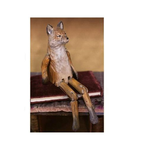 Whittled Woodland Hand Carved Fox Shelf Sitter.