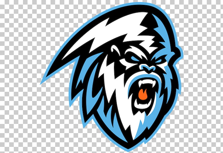 Kooteney ICE Logo, white and blue gorilla illustration PNG.