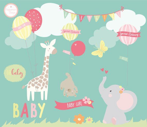 A cute baby girl clipart set, with sweet bay animals holding.