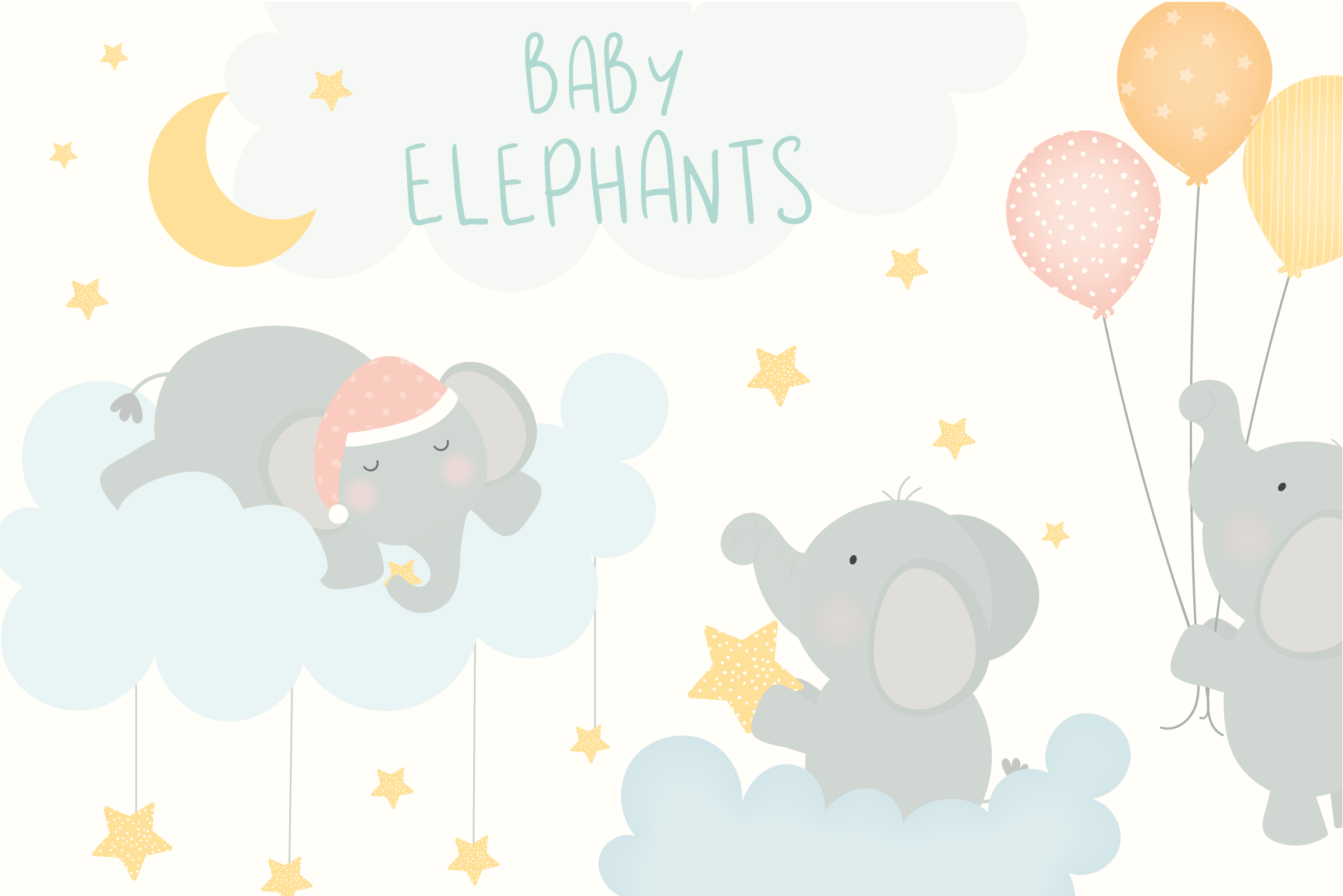 Baby Elephants Clipart.