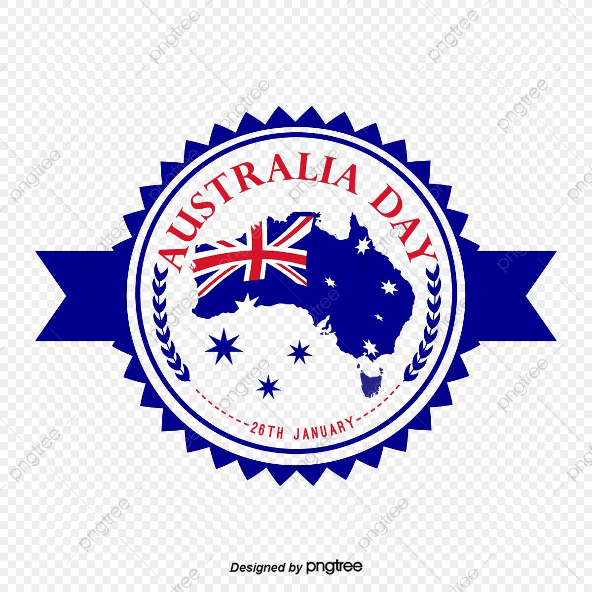 Blue Australian Map Flag Emblem Icon Design, Originality, Creative.