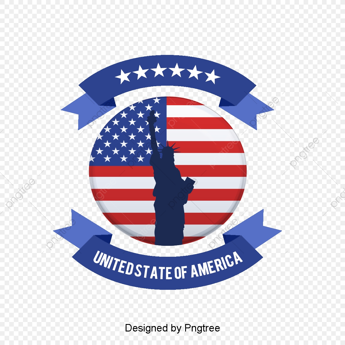 Modern Fashion American Flag Decoration Elements, Silhouette.
