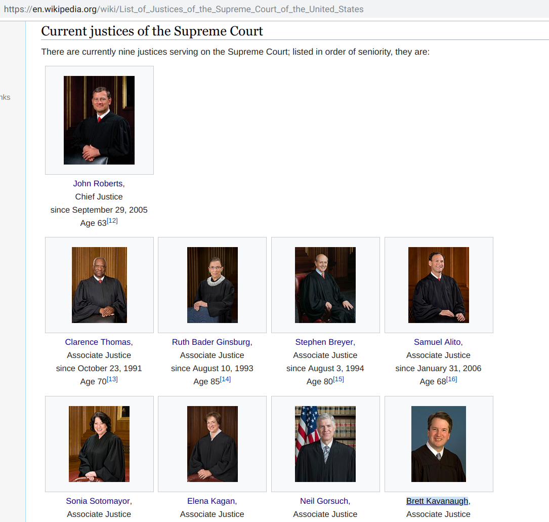 All Current US Supreme Court Justices FirstName+LastName.com.