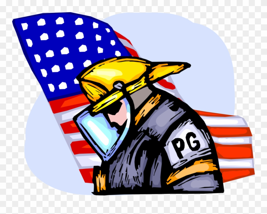 Vector Illustration Of Firefighter Fireman Pays Tribute.