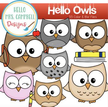 Hello Owl Clipart.