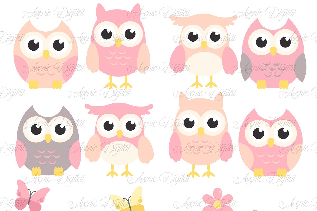 Pink and Grey Owl Cliparts.