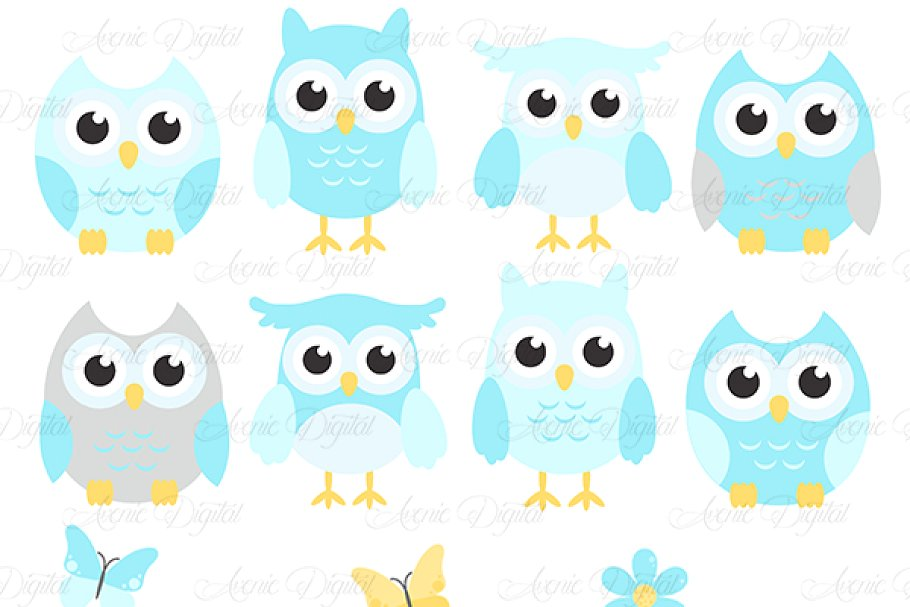 Blue and Grey Owl Cliparts.