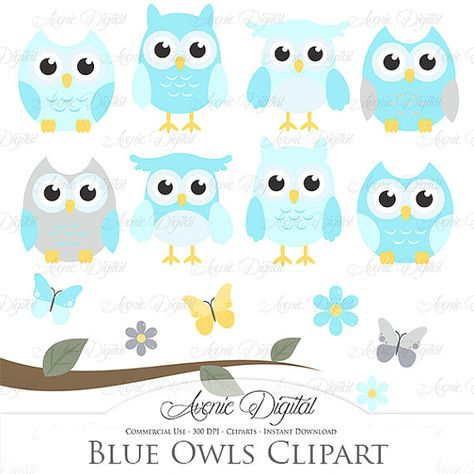 Blue Owl Clipart. Scrapbooking printables, Baby owls clip.