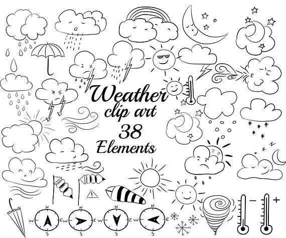 Weather doodle clipart: \