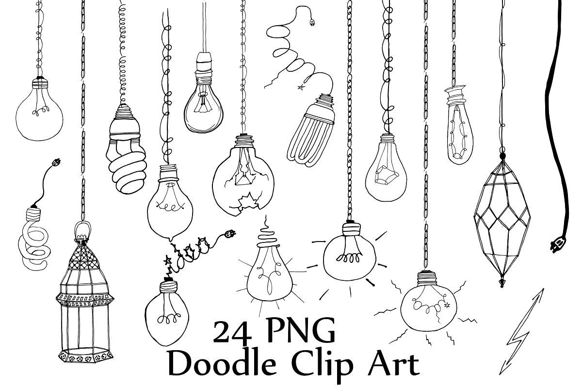 Light Bulb doodle clipart.