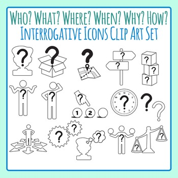 Who, What, Where, When, Why, How, How Many Interrogative Clip Art  Commercial Use.