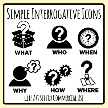 Interrogative Icon Clip Art Set.