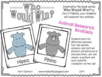 Animal Research Booklets: Who Would Win (animal comparisons).