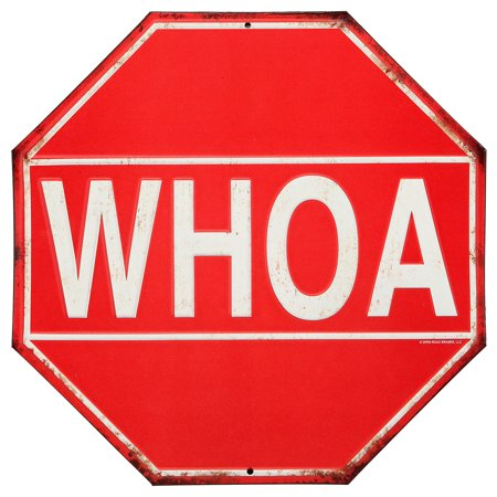 Whoa Stop Sign Rustic Embossed Metal Sign.