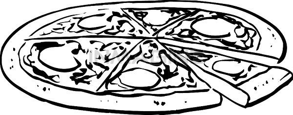 Whole Pizza Clipart Black And White.