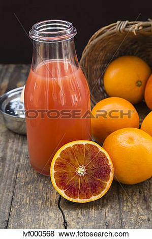 Pictures of Half and whole blood oranges, bottle of blood orange.