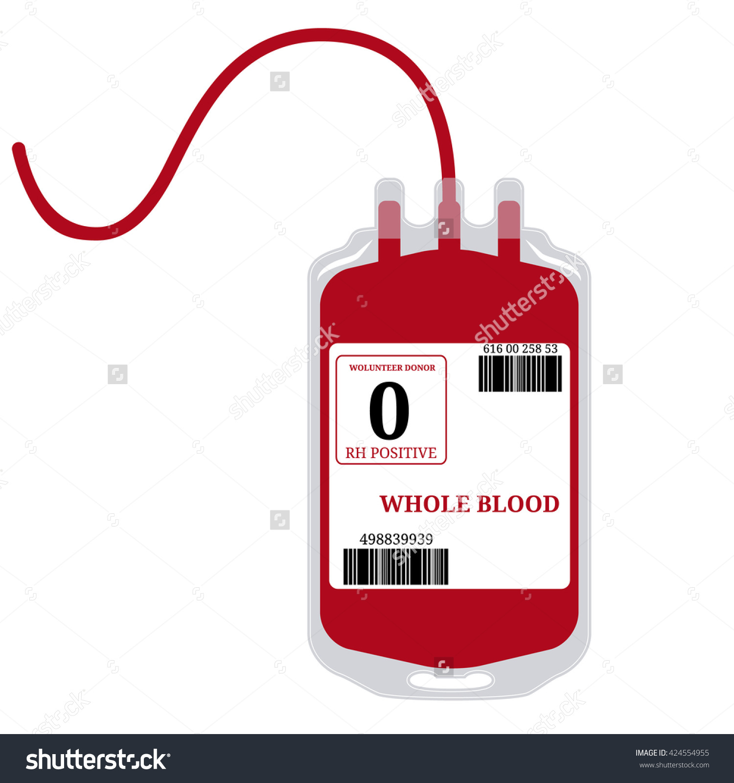 Blood Bag With Label And Text Whole Blood Isolated On White.