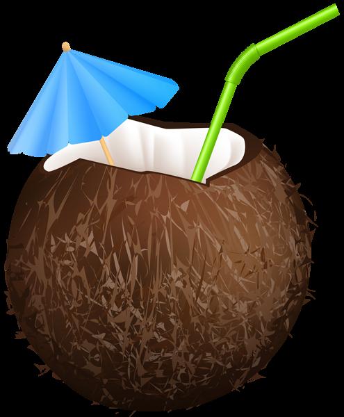 Summer Coconut Drink PNG Clip Art Image.