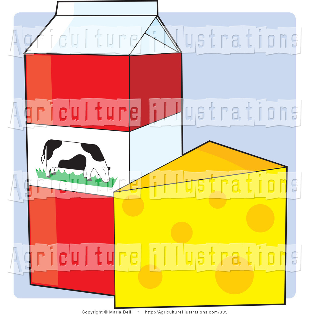 Agriculture Clipart of a Carton of Whole Milk with a Dairy.