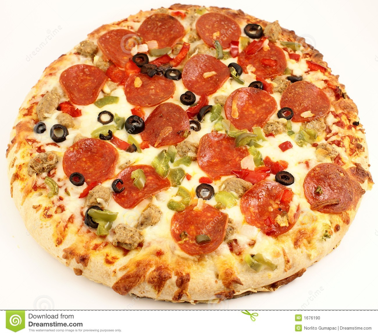 Whole Deluxe Pizza Stock Photo.
