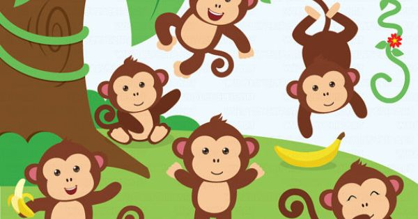 Monkey Boys & Girls For Personal and Commercial by WhollyClipart.