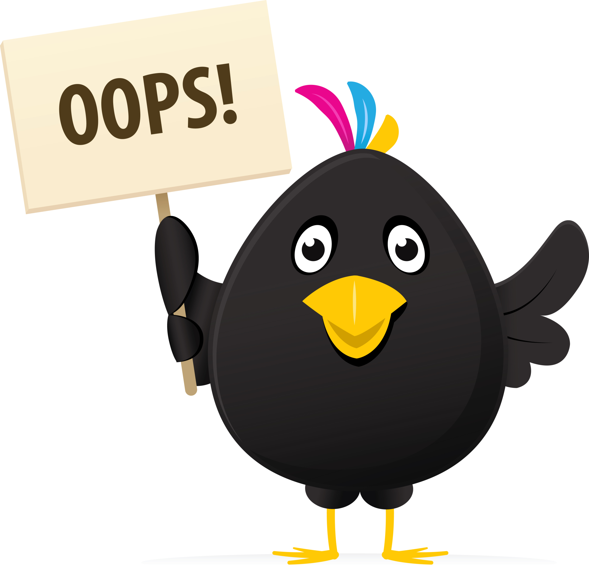 Illustrated image of a black bird holding a oops placard » Clipart.
