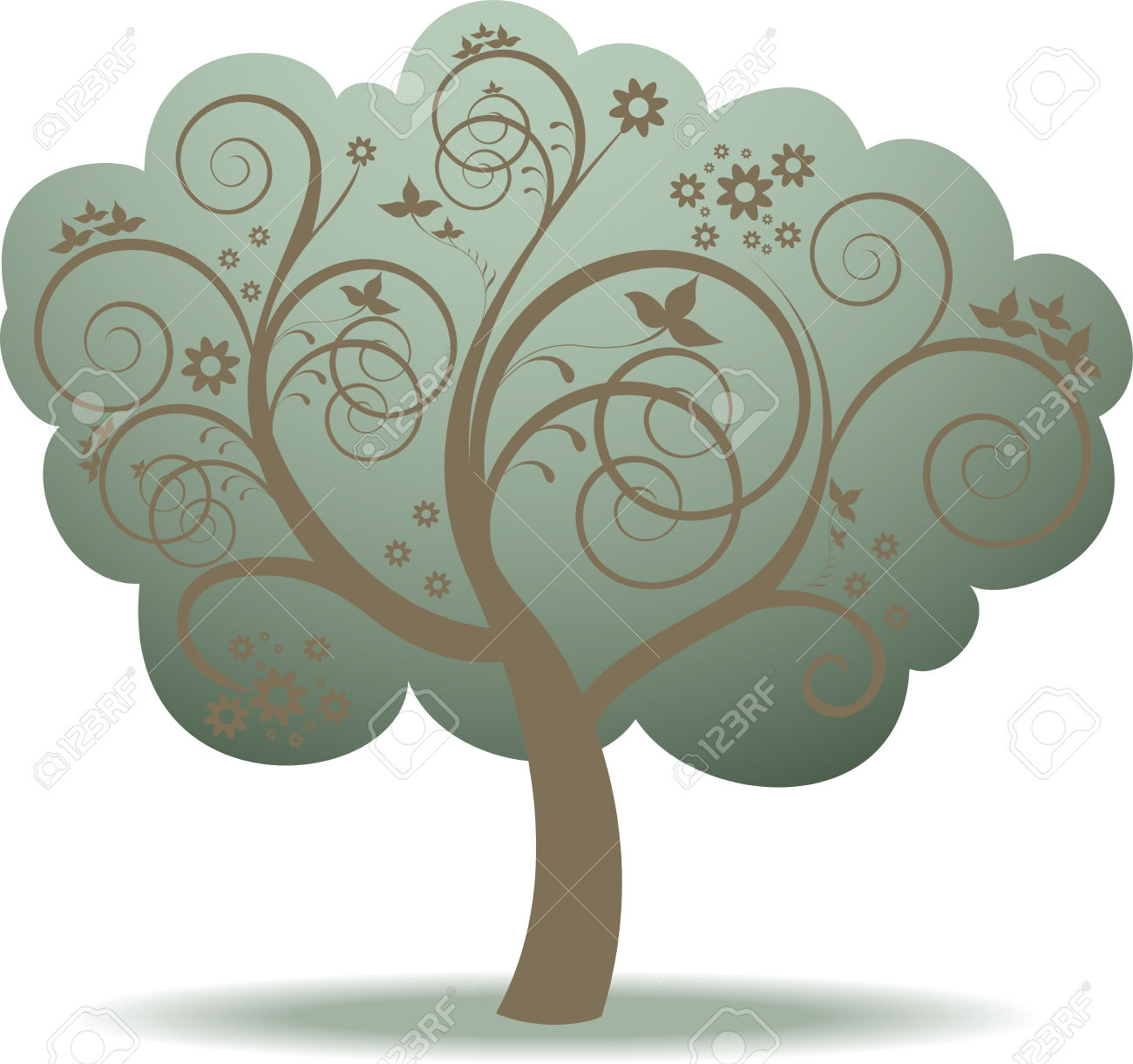 Fantasy Green Tree And Flowers In Whorls Royalty Free Cliparts.