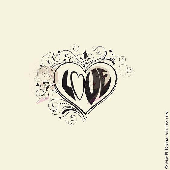 Valentines Mothers Day Wedding Flourish Swirls Heart Frame.