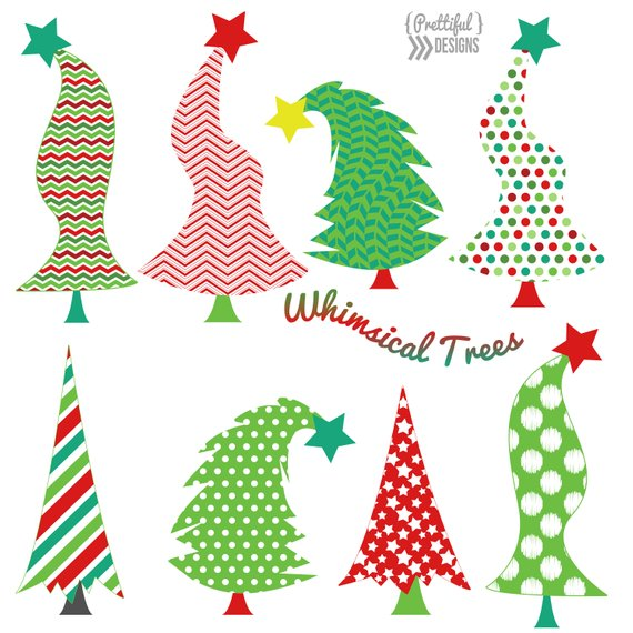 Christmas Whimsical Trees Clip Art.