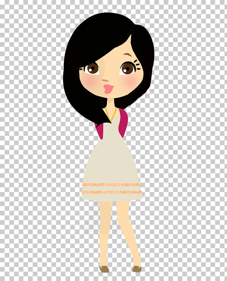 Drawing Doll Demi Here We Go Again, brunette PNG clipart.