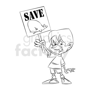 black and white cartoon protestor protesting to save the whales clipart.  Royalty.