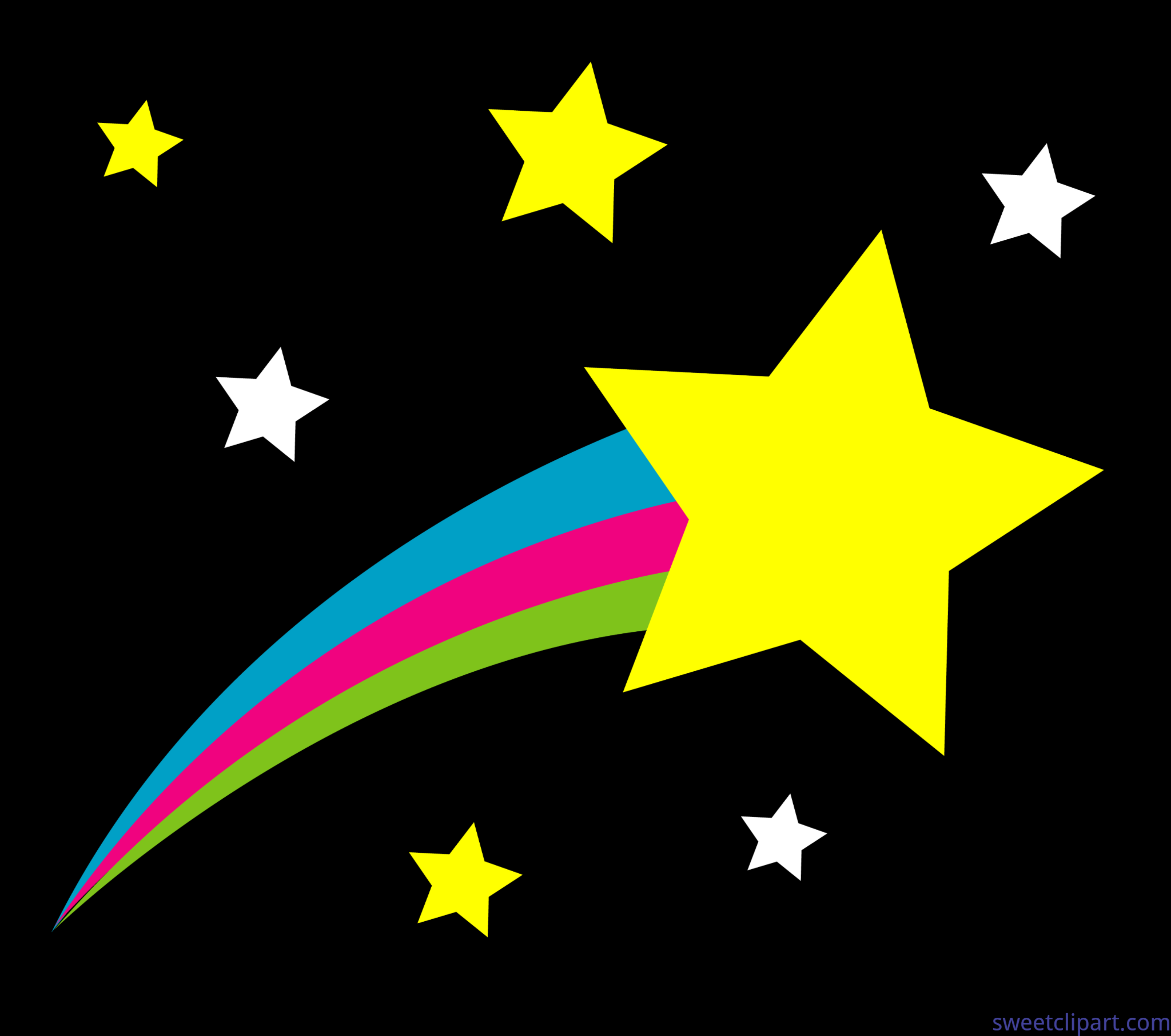 Outer Space Shooting Star Black Background Clip Art.