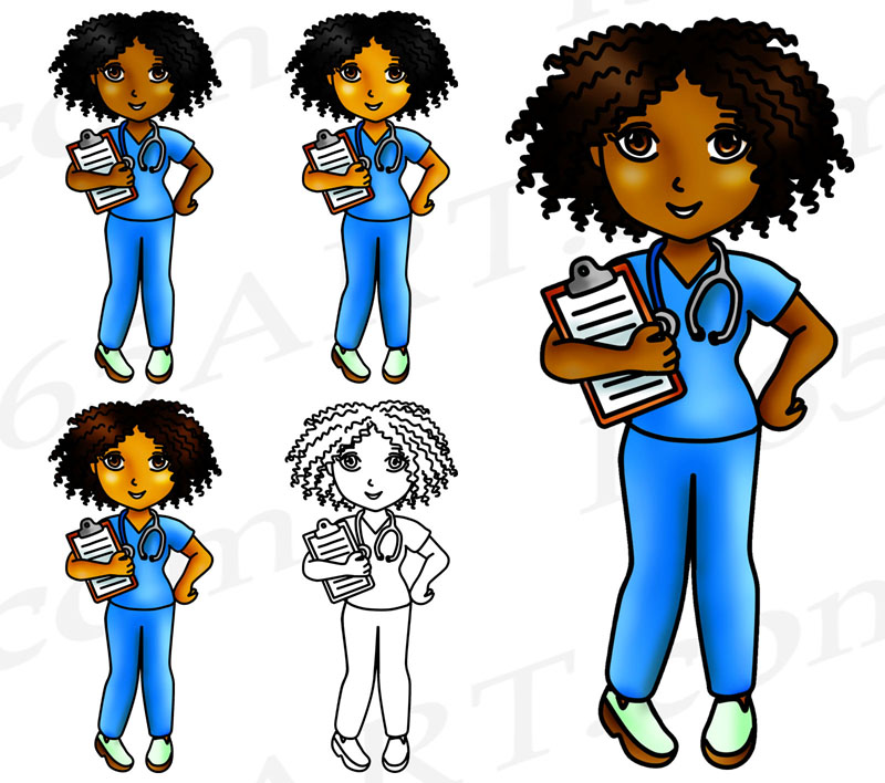 Black Nurse Clipart, Cute Nurse Girls PNG Download.