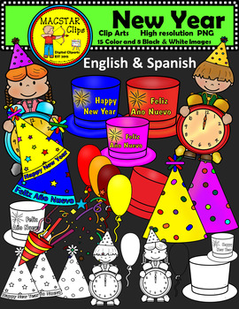 FREEBIE Happy New Year Clipart Digital Images FREE English and Spanish Clips.