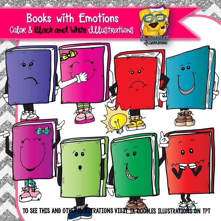 Books With Emotions Commercial Use Clipart.