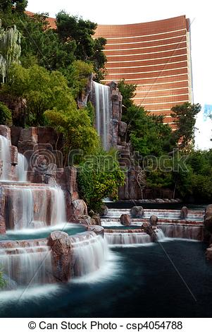 Pictures of Waterfall and Wynn Hotel, Las Vegas.