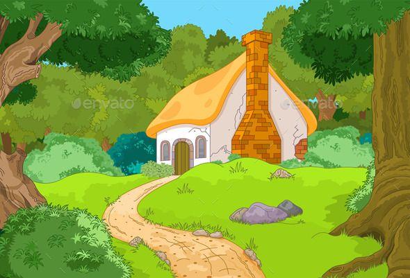 Cartoon Forest Cabin (Vector EPS, CS, background, cabin.