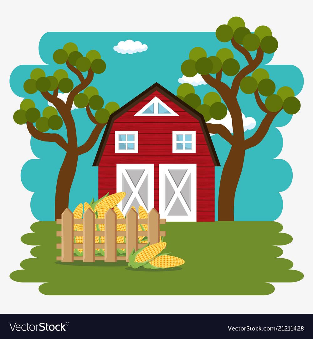 Farmhouse in the farm scene.
