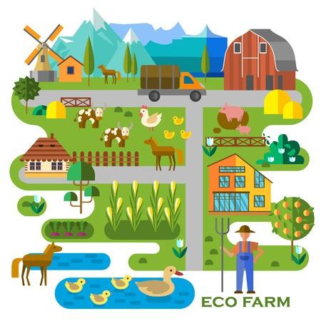 Beautiful farm scene. Abstract map of farm, with corn field.