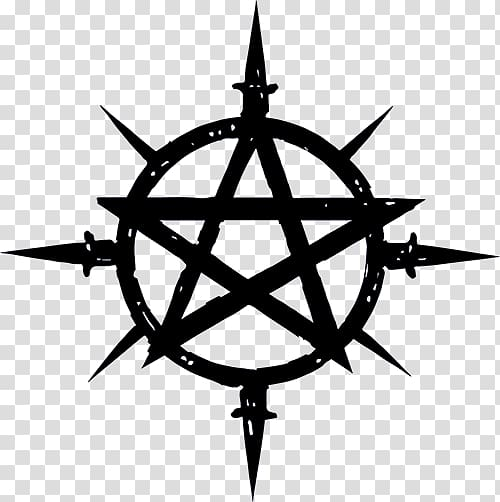 Black star illustration, Book of Shadows Symbol Wicca.