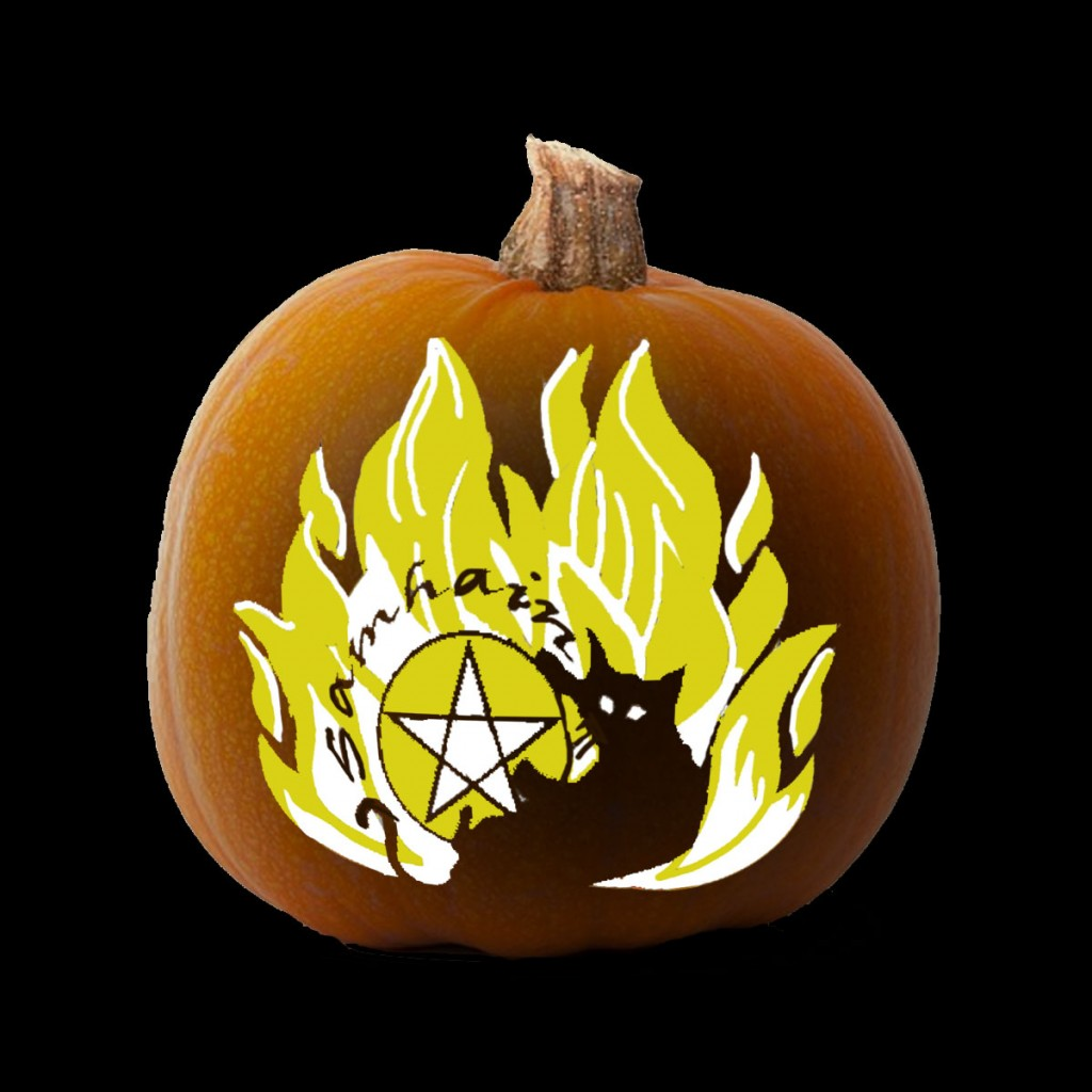 More Printable Pagan Pumpkin Carving Stencils for Samhain.