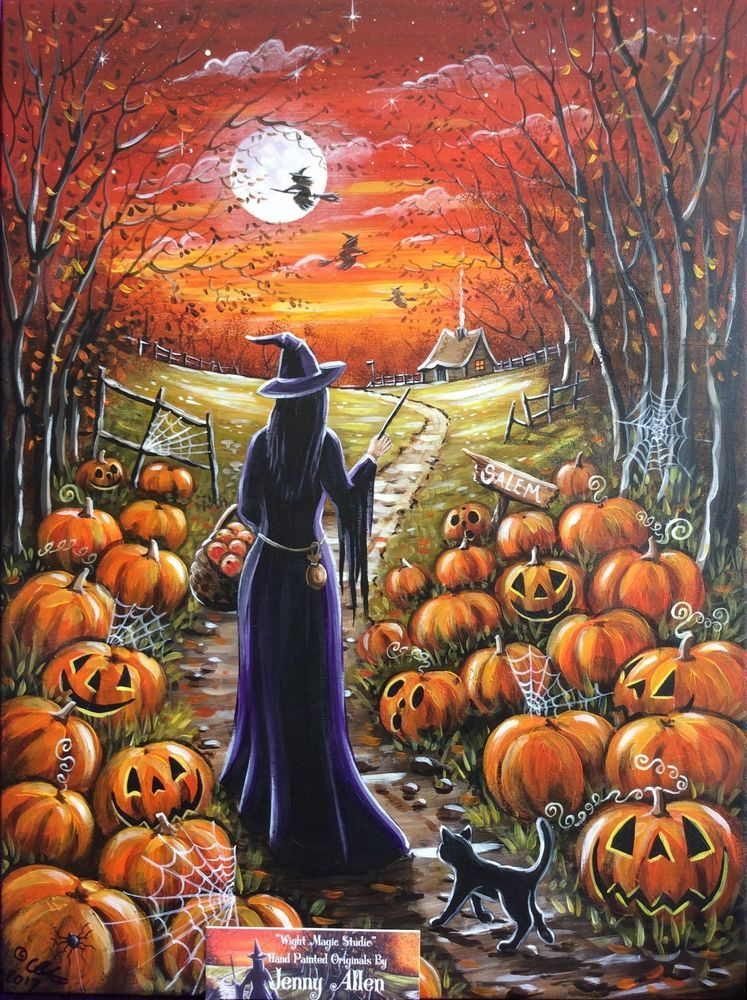 OOAK Original Halloween Painting Acrylic On Board Pumpkins.