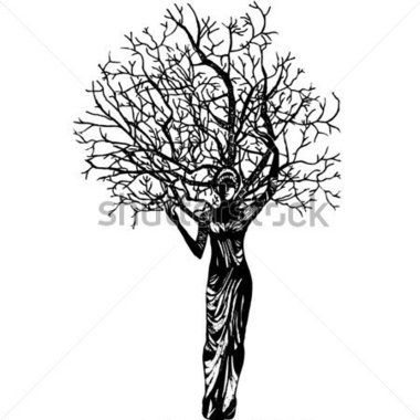 The Woman A Tree and Butterfly stock vector.