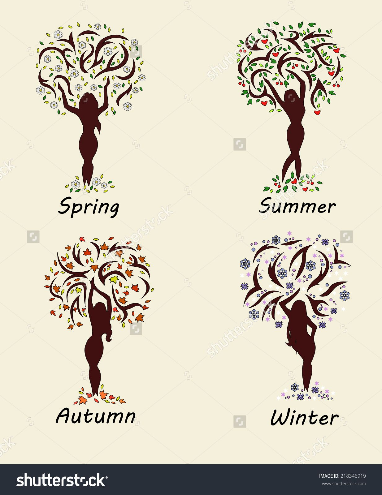 A woman tree in four seasons. Vector illustration.