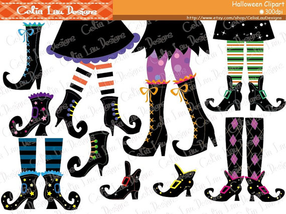 Witch Feet Clip art, Halloween Clipart, Witch Boots Clipart.