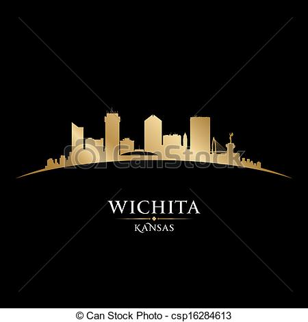 Vector Clip Art of Wichita Kansas city silhouette black background.