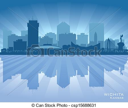 Wichita skyline Clip Art Vector Graphics. 12 Wichita skyline EPS.
