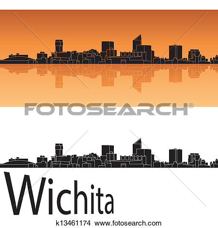 Clipart of Wichita skyline in orange background k13461174.