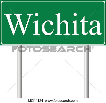 Clipart of Wichita green road sign k8214124.