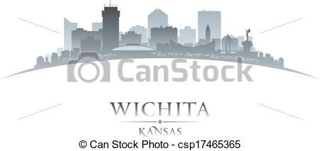 Clip Art Vector of Wichita Kansas city silhouette white background.